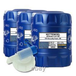 60 (3x20) litres d'huile de chaîne MANNOL avec robinet de vidange