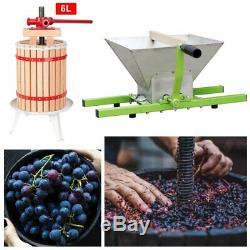 6L Presse-Fruits Pressoir à Vin avec 7L Broyeuse à Fruits Traubenmühle Manivelle