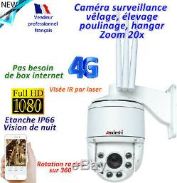 Caméra 3G/4G 360° Zoom 20x -Sans box Internet Idéale pour élevage