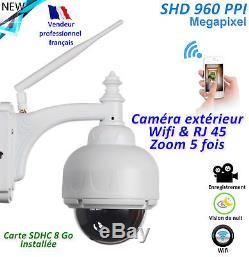 Caméra surveillance rotative Etanche IP66 Zoom 5x 100% alu Carte SD 8Go