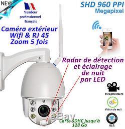 Caméra zoom 5x Rotative Radar IR Wifi -Etanche IP66 Micro intégré Vêlage