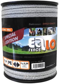 Ellofence Kit de clôture électrique de 200 m avec piquet, isolateurs et testeur