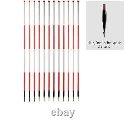 Holz-Fluchtstab 12 Pièces (PVC) Dreilaschen-Stahls. 3-kant 2,16m Rouge Vif