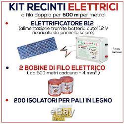Kit de CLÔTURE 500 mt Electrificateur 12 V + Isolateurs + Fil + Panneau Solair