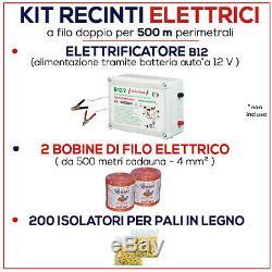 Kit de CLÔTURE électrique 500 mt Electrificateur B/12 V + Isolateurs + Fil
