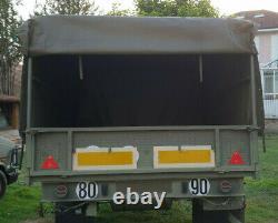 Remorque agricole TRAILOR 2,7 tonne plateau ridelle baché Tracteur Bois Jeep 4X4