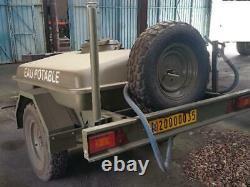 Remorque citerne alimentaire eau 1000L Jeep 4X4 Tracteur Elevage Chevaux Pompe