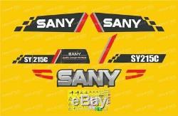 Sany SY215C Set complet de décalques, adhésifs et autocollants pour pelles