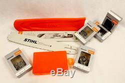 Stihl Ensemble Guide Rail 9421 50cm 1,6 3/8 + Protection Boîte 5x Chaînes Plein