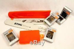 Stihl Guide Rail 3003 000 5231 63cm 1,6 3/8 + Protection Boîte 5x Chaînes Moitié