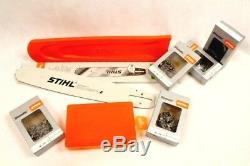 Stihl Guide Rail 3003 000 5231 63cm 1,6 3/8 + Protection Boîte 5x Chaînes Plein