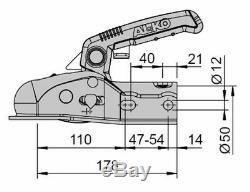Tête d'attelage AL-KO AK161 SoftDock 1600 Kg timon ø 50 + Entretoises de réduc